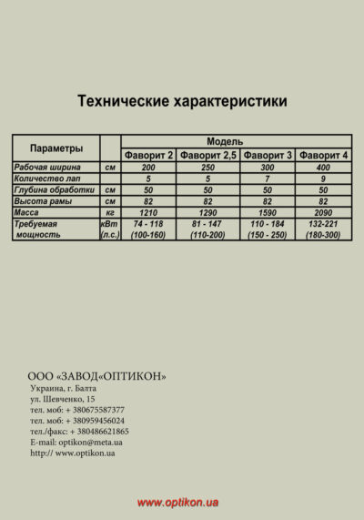 Глубокорыхлитель ОПТИКОН Фаворит 3-5